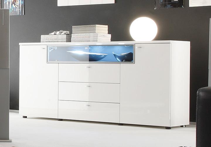 sideboard tetis kommode in wei hochglanz tiefzieh und graphit inkl beleuchtung ebay. Black Bedroom Furniture Sets. Home Design Ideas