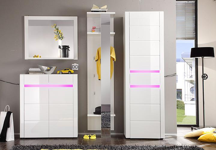 garderoben set lotus garderobe flurm bel wei und wei hochglanz inkl rgb 4 tlg ebay. Black Bedroom Furniture Sets. Home Design Ideas