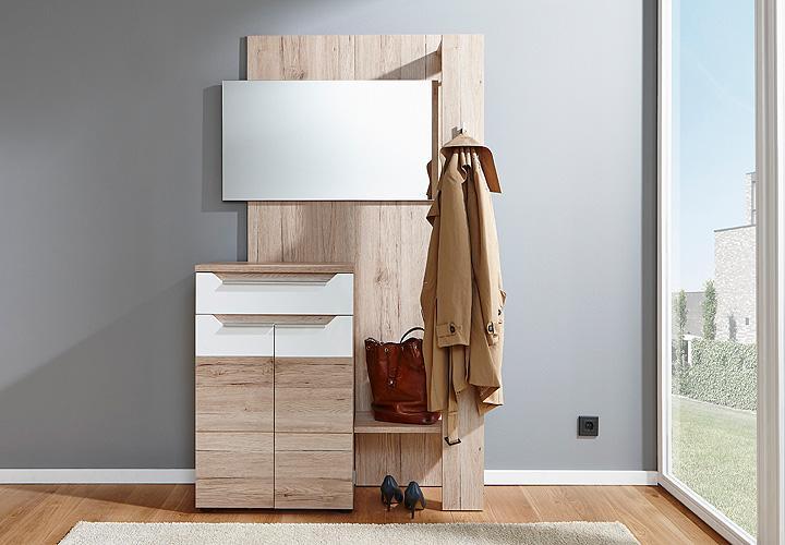 garderoben set eddy garderobe wandgarderobe in san remo eiche und wei hochglanz ebay. Black Bedroom Furniture Sets. Home Design Ideas