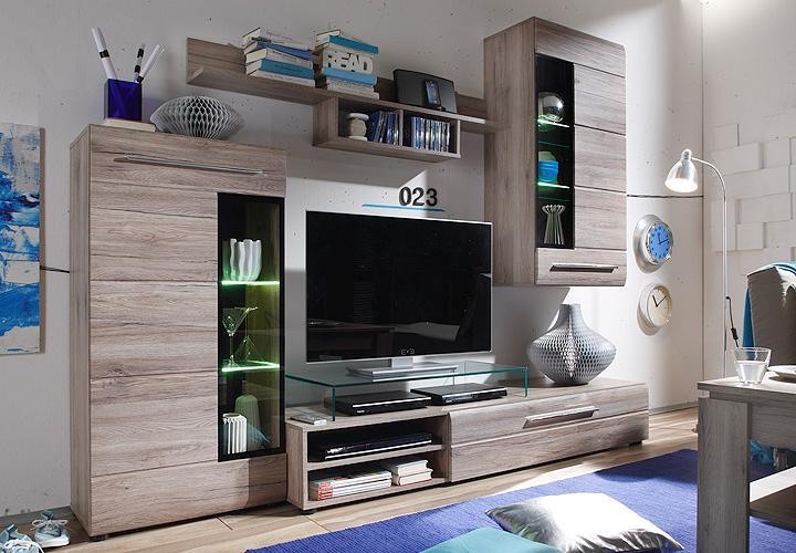 wohnwand skin in san remo eiche dunkel mit beleuchtung. Black Bedroom Furniture Sets. Home Design Ideas