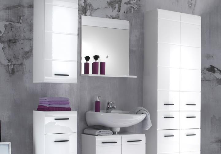 Bad spiegel mit ablage skin front wei hochglanz for Hohe spiegel bad