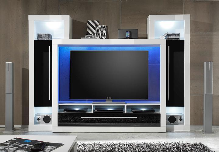 wohnwand 3 medox medienwand wei schwarz hochglanz. Black Bedroom Furniture Sets. Home Design Ideas