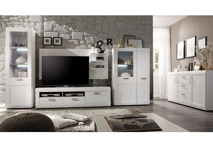 wohnwand 1 landlust in pinie struktur wei und dunkel. Black Bedroom Furniture Sets. Home Design Ideas