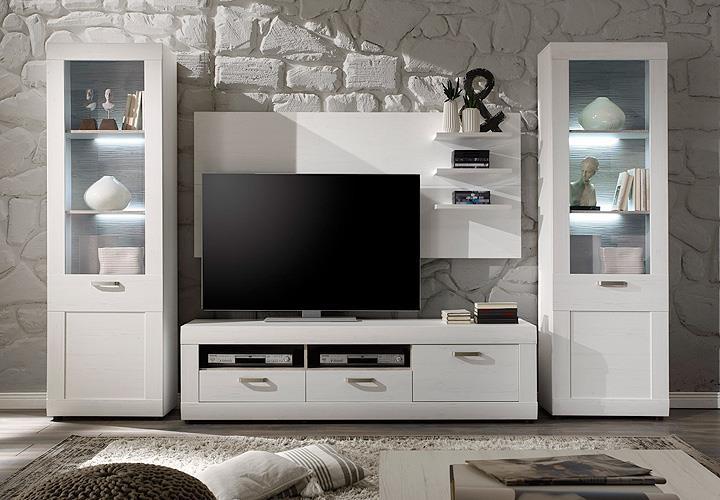 wohnwand 3 landlust in pinie struktur wei und dunkel. Black Bedroom Furniture Sets. Home Design Ideas