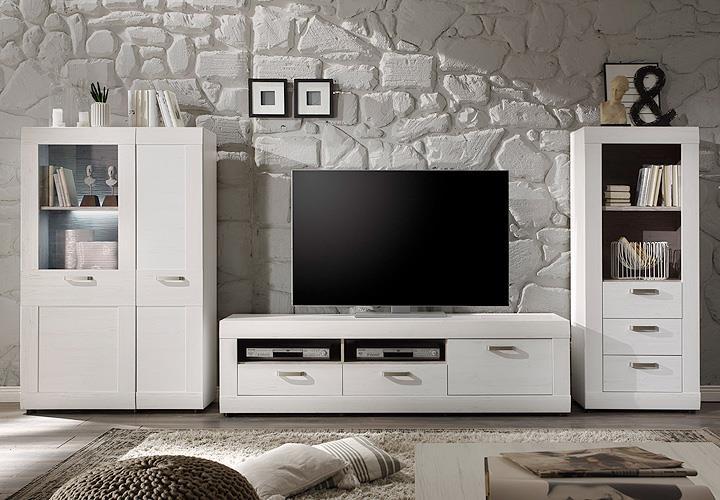 wohnwand 4 landlust in pinie struktur wei und dunkel. Black Bedroom Furniture Sets. Home Design Ideas