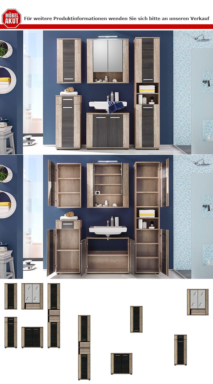 badhochschrank star badezimmer badm bel in eiche monument oak und touchwood ebay. Black Bedroom Furniture Sets. Home Design Ideas