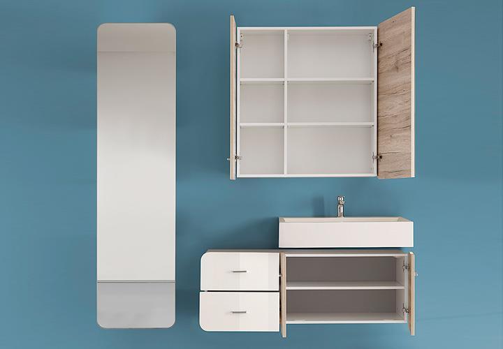 spiegelschrank retro bad in eiche sand und wei 84 cm. Black Bedroom Furniture Sets. Home Design Ideas