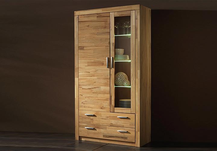 vitrine ii berlin schrank in kernbuche teilmassiv ge lt. Black Bedroom Furniture Sets. Home Design Ideas