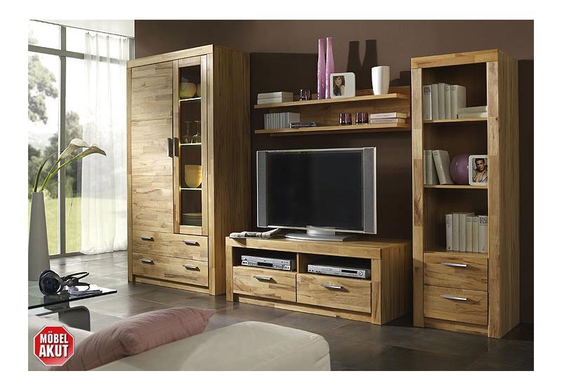 wohnwand berlin kernbuche teilmassiv gesamtbreite 282 cm. Black Bedroom Furniture Sets. Home Design Ideas