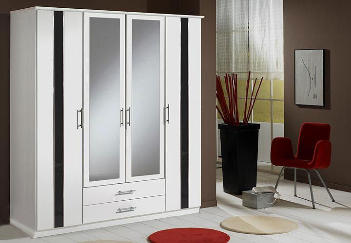 Kleiderschrank Weiß Schwarz Hochglanz ~ HIT Kleiderschrank 180 cm WeißSchwarz Hochglanz