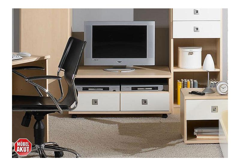 tv board eddi lowboard in ahorn wei neu ovp ebay. Black Bedroom Furniture Sets. Home Design Ideas