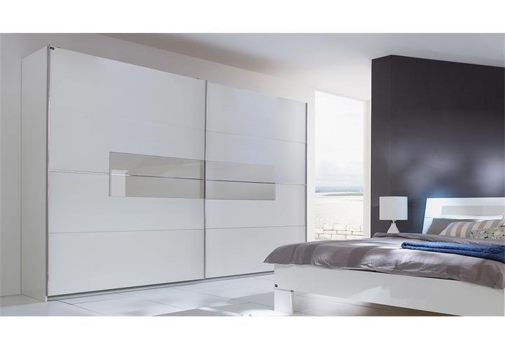 schwebet renschrank advantage kleiderschrank in wei mit sandgrauem glas 250 cm ebay. Black Bedroom Furniture Sets. Home Design Ideas
