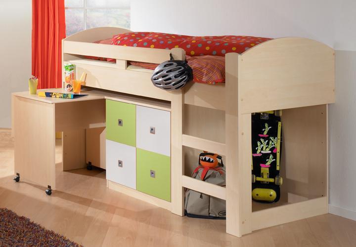 hochbett sunny ahorn gr n wei mit schreibtisch und kommode. Black Bedroom Furniture Sets. Home Design Ideas