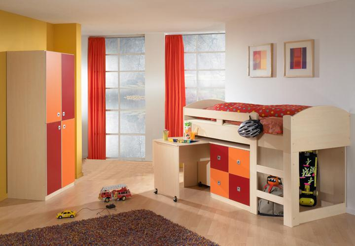 hochbett sunny ahorn orange rot mit schreibtisch kommode. Black Bedroom Furniture Sets. Home Design Ideas