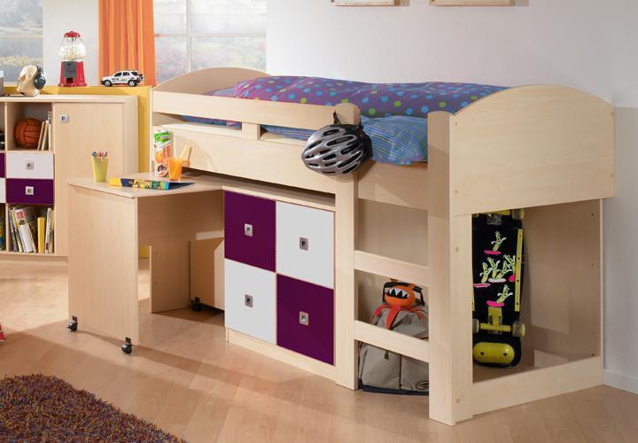 hochbett sunny jugendbett in ahorn brombeer wei mit schreibtisch und kommode ebay. Black Bedroom Furniture Sets. Home Design Ideas