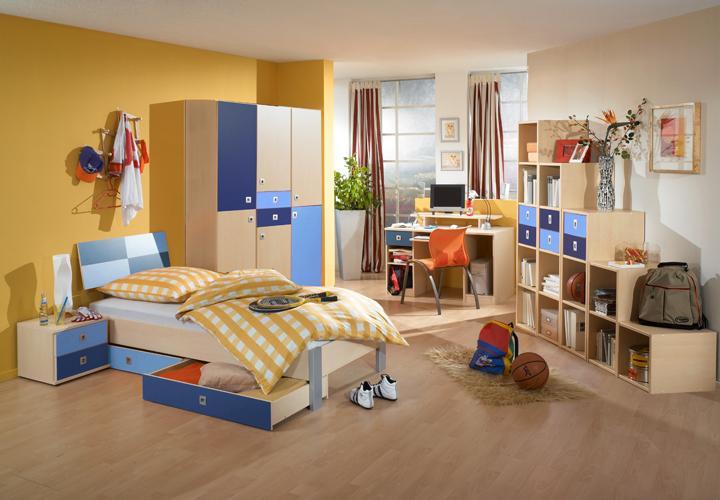 Jugendzimmer sunny 3 teilig ahorn iceblau marineblau for Hochwertige jugendzimmer
