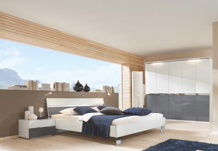 goku somia schlafzimmer wei grau hochglanz. Black Bedroom Furniture Sets. Home Design Ideas
