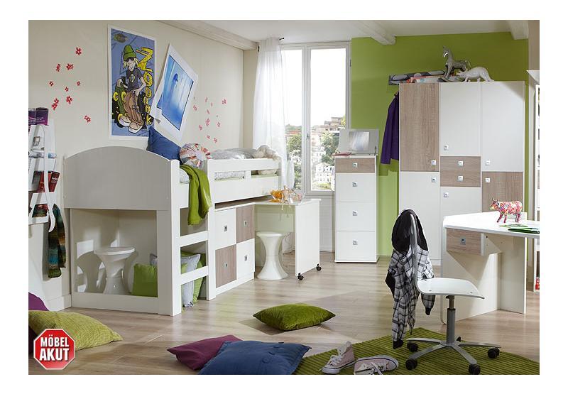 Jugendzimmer sunny 4 teilig wei und sonoma eiche s gerau - Jugendzimmer set angebote ...