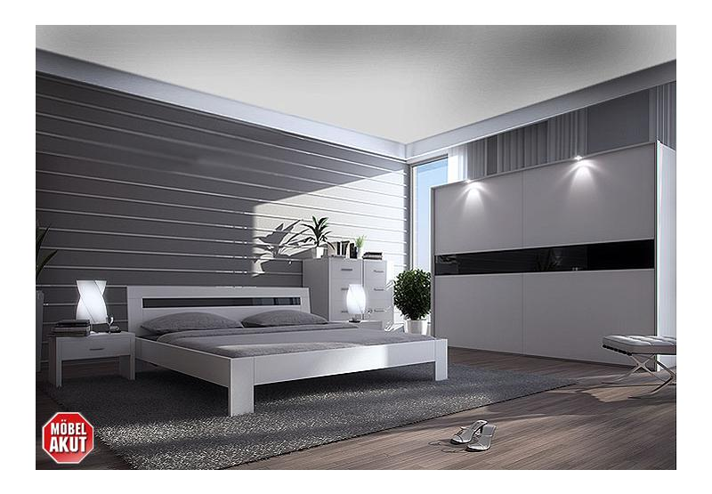 monos schlafzimmer set wei schwarz glas 300 cm. Black Bedroom Furniture Sets. Home Design Ideas