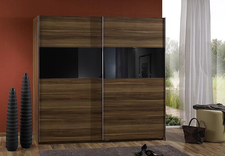 schwebet renschrank zelda kleiderschrank in nussbaum glas schwarz 179 cm ebay. Black Bedroom Furniture Sets. Home Design Ideas
