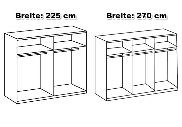 Schwebet renschrank davos 270 cm wei mit spiegel for Wohnlandschaft 270 cm