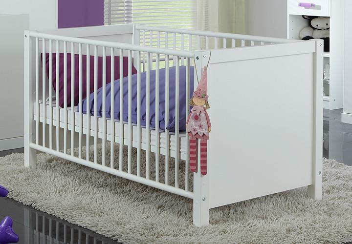 babybett flora kinderbett in alpinwei dekor mit lattenrost 70x140 cm ebay. Black Bedroom Furniture Sets. Home Design Ideas