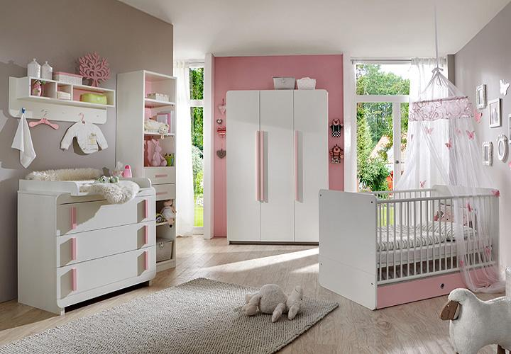 babyzimmer set maja 4 teilig wei und ros. Black Bedroom Furniture Sets. Home Design Ideas