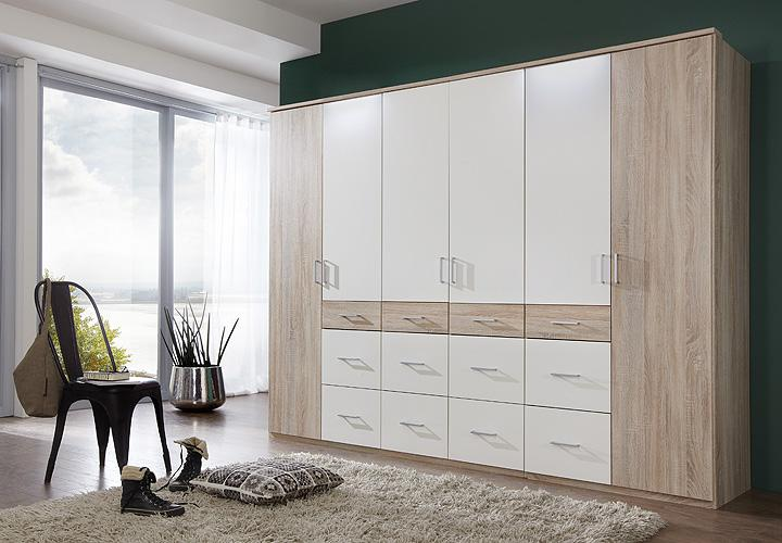 kleiderschrank click 2 sonoma eiche s gerau wei 270. Black Bedroom Furniture Sets. Home Design Ideas