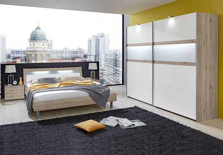 schlafzimmerset easy plus san remo eiche wei milchglas. Black Bedroom Furniture Sets. Home Design Ideas