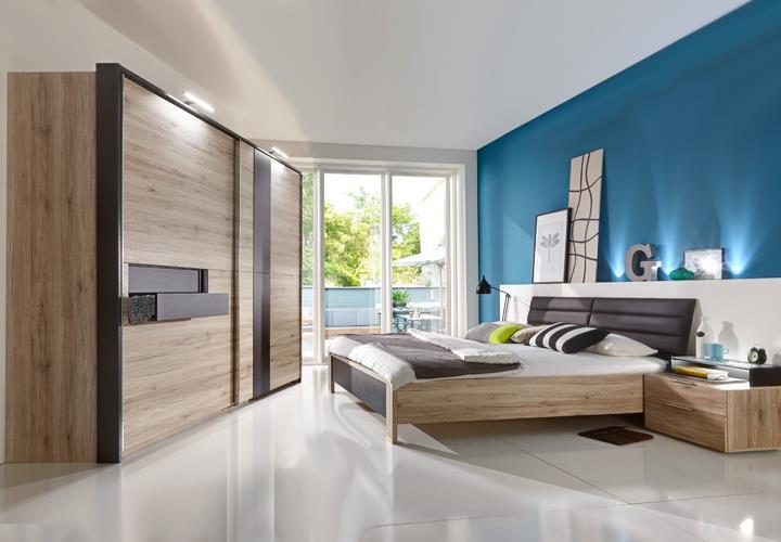Schlafzimmer Set DIVA mit Schweber 300cm San Remo Eiche