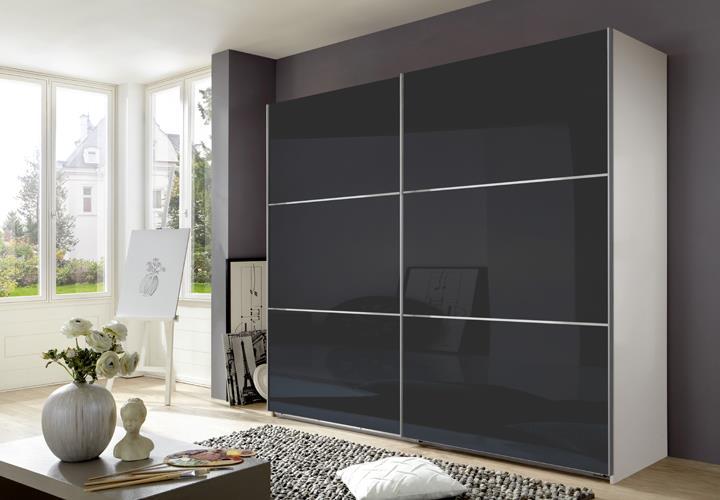 schwebet renschrank escape alpinwei glasfront grau 250 cm. Black Bedroom Furniture Sets. Home Design Ideas