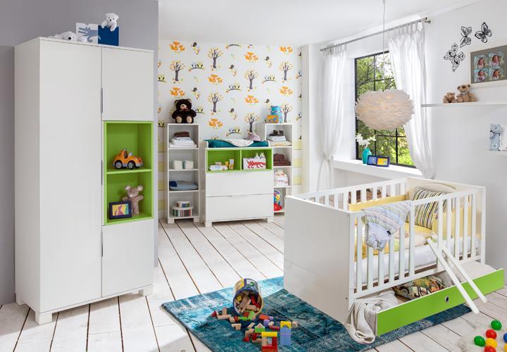 babyzimmer joris in alpinwei gr n mit bett schrank kommode. Black Bedroom Furniture Sets. Home Design Ideas