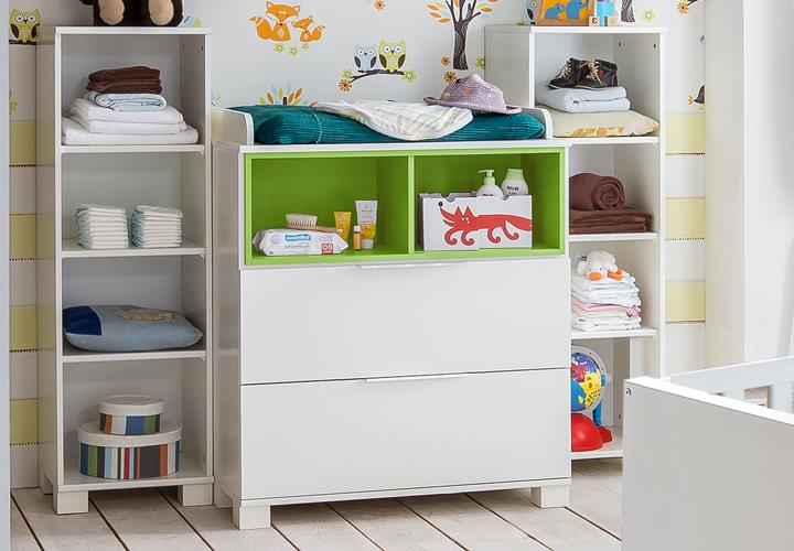 babyzimmer joris in alpinwei gr n mit bett schrank kommode. Black Bedroom Furniture Sets. Home Design Ideas