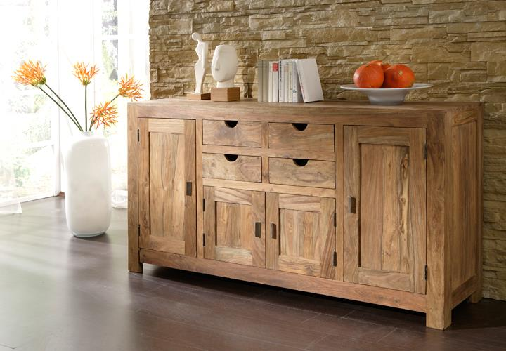 Kommode delhi trig sideboard in akazie massiv farbe lava for Wohnwand yoga