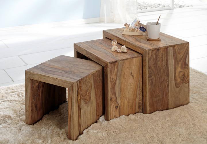 3 satz tisch yoga sheesham massivholz von wolf m bel. Black Bedroom Furniture Sets. Home Design Ideas