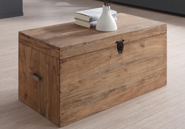 truhe guru 6606 von wolf m bel holz akazie massiv stone 95x50x48 cm ebay. Black Bedroom Furniture Sets. Home Design Ideas