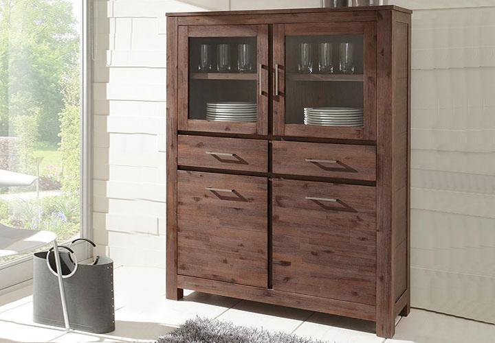 highboard canaria kommode in akazie massiv neu ebay. Black Bedroom Furniture Sets. Home Design Ideas
