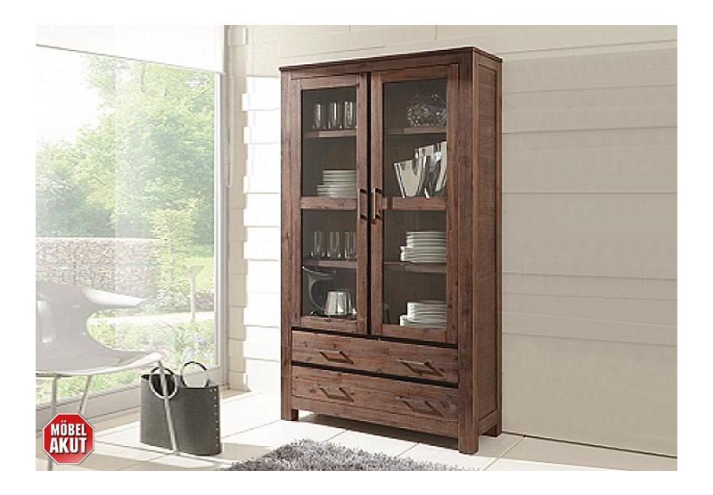 vitrine canaria glasvitrine schrank in akazie massiv smoke neu ovp ebay. Black Bedroom Furniture Sets. Home Design Ideas