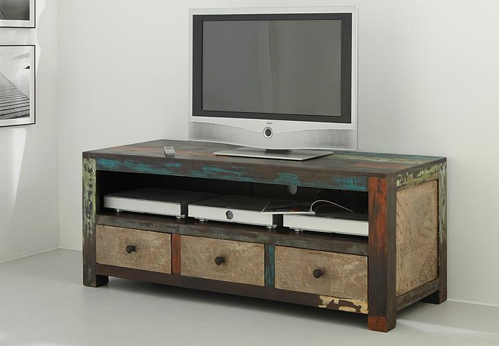 tv board longboard goa lowboard in massivholz mango vintage used look multicolo ebay. Black Bedroom Furniture Sets. Home Design Ideas