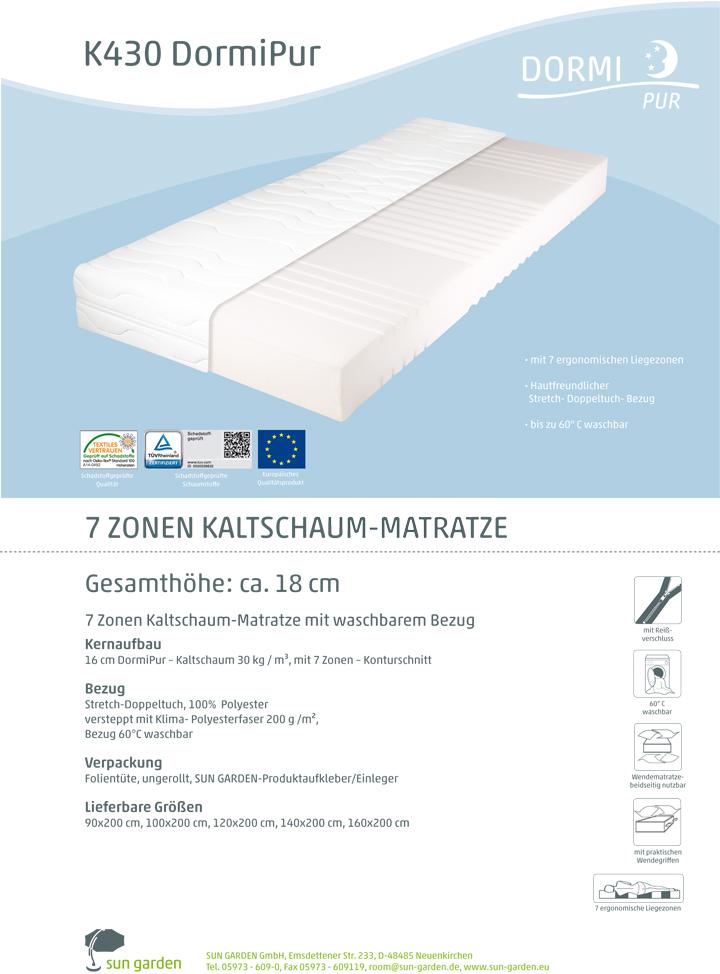 kaltschaum matratze 7 zonen dormipur k430 stretch. Black Bedroom Furniture Sets. Home Design Ideas