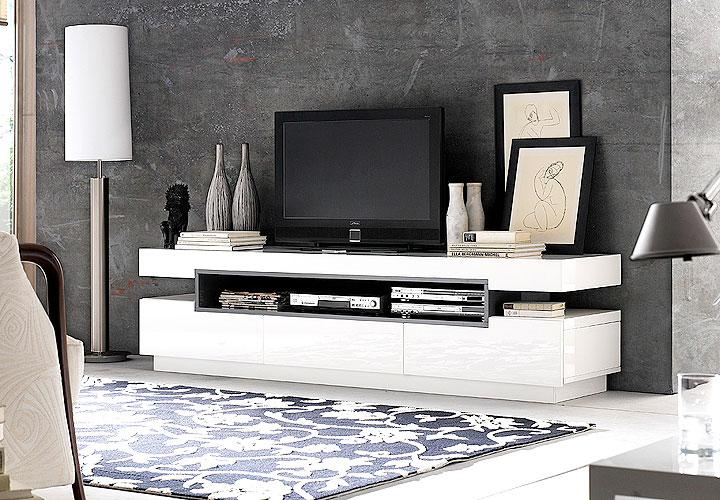 tv board laura lowboard in wei hochglanz. Black Bedroom Furniture Sets. Home Design Ideas