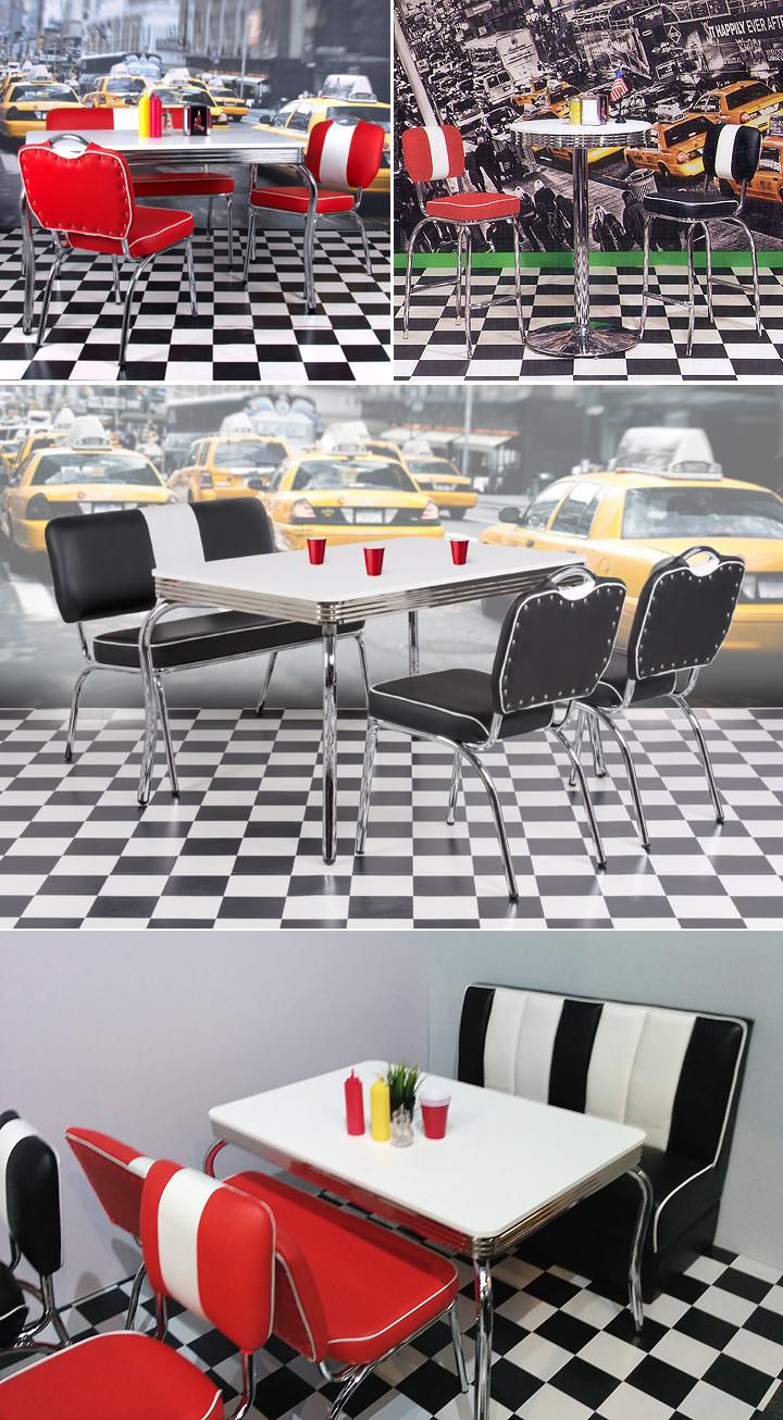american diner barhocker elvis 50er jahre retro bistrohocker rot chrom ebay. Black Bedroom Furniture Sets. Home Design Ideas