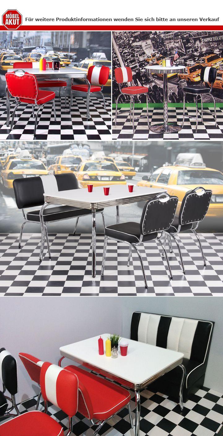 barhocker elvis american diner 50er jahre retro bistrohocker rot chrom. Black Bedroom Furniture Sets. Home Design Ideas