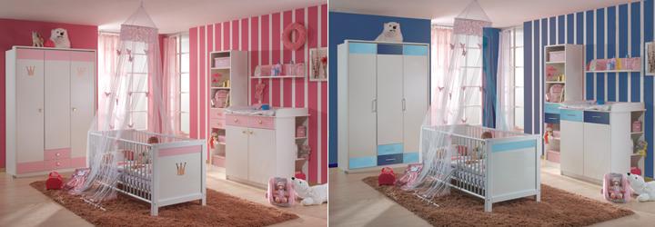 Babyzimmer cinderella kinderbett wickelkommode in weiß rosé