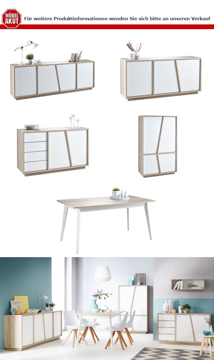 esstisch nature tisch in sonoma eiche geb rstet und wei 160. Black Bedroom Furniture Sets. Home Design Ideas