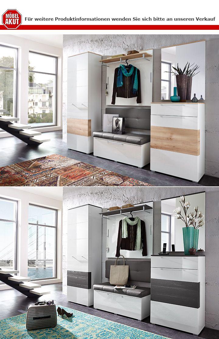 schuhschrank reno schrank in wei hochglanz und grau. Black Bedroom Furniture Sets. Home Design Ideas