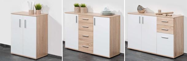 kommode conny sideboard hochglanz wei sonoma eiche mit t ren und schubk sten ebay. Black Bedroom Furniture Sets. Home Design Ideas