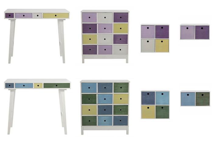mini kommode octopus 2 schubk sten mehrfarbig wei blau gr n. Black Bedroom Furniture Sets. Home Design Ideas