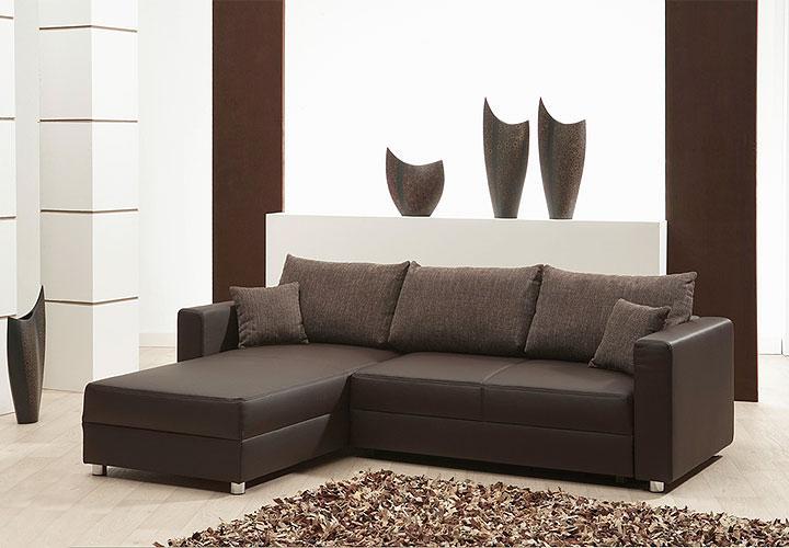 ecksofa tom braun mit ottomane und bettfunktion. Black Bedroom Furniture Sets. Home Design Ideas