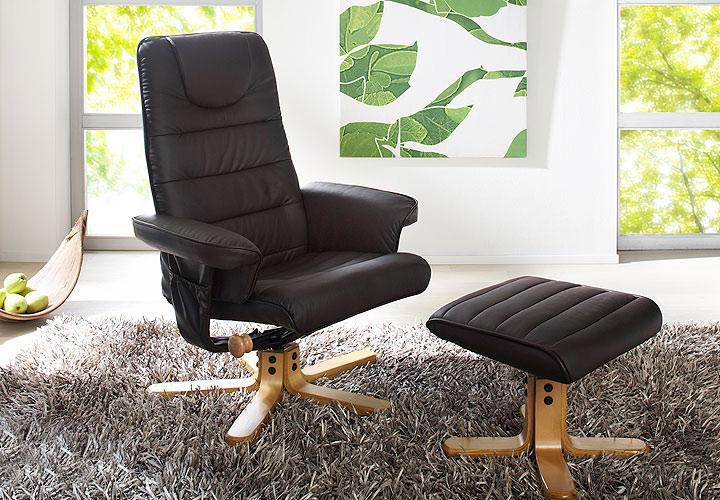 relaxsessel und hocker reyna sessel in braun lederlook. Black Bedroom Furniture Sets. Home Design Ideas